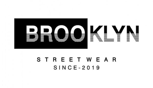 Tipografía brooklyn para camiseta estampada Vector Premium