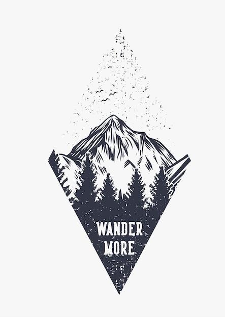 Tipografía de cita de senderismo de montaña pasea más con ilustración retro vintage de escena de montaña Vector Premium