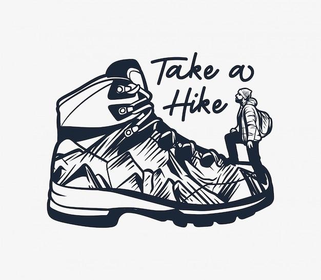 Tipografía de cita de senderismo de montaña tome una caminata con bota de senderismo y hombre escalador ilustración Vector Premium