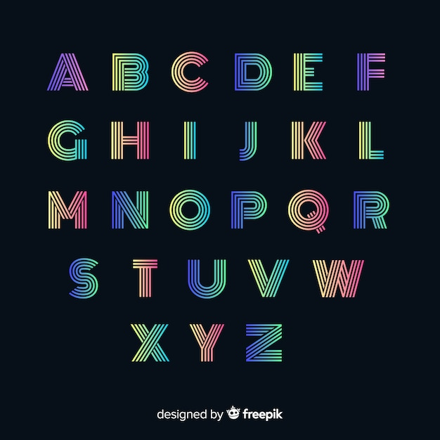 Tipografía colorida gradiente vector gratuito