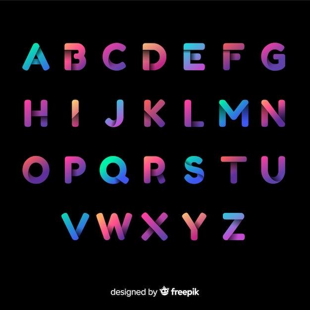 Tipografía colorida gradiente vector gratuito