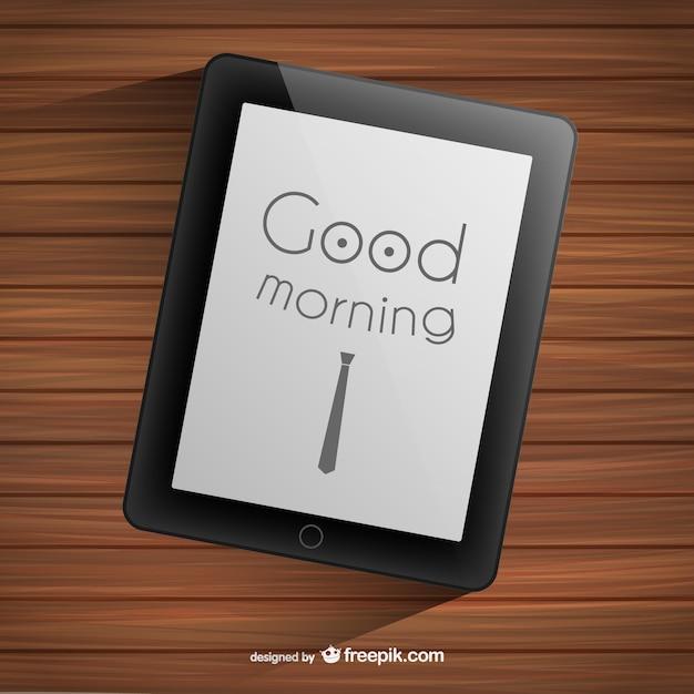 Tipografía de buenos días en tablet Vector Gratis