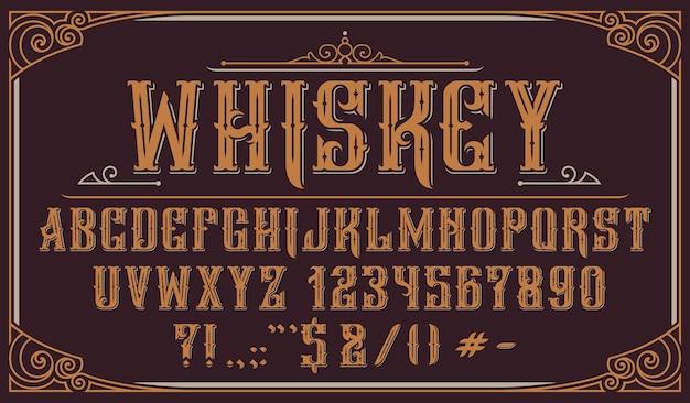 Tipografía decorativa vintage. perfecto para etiquetas de alcohol, logotipos, tiendas, titulares, carteles y muchos otros usos. Vector Premium