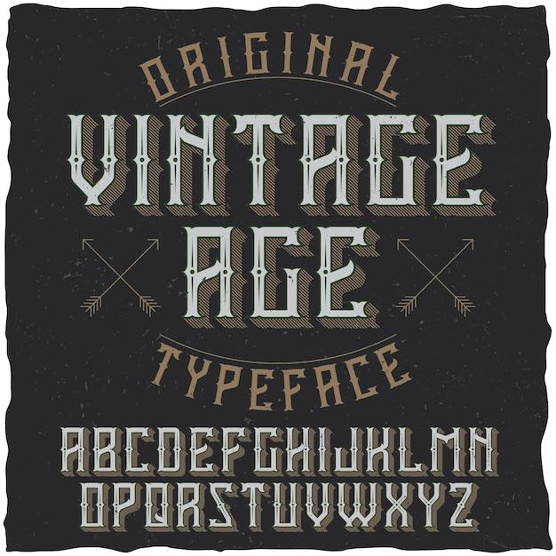 Tipografía de etiqueta vintage llamada vintage age. vector gratuito