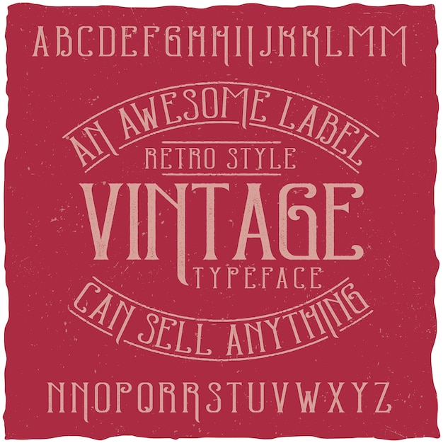 Tipografía de etiqueta vintage llamada vintage. vector gratuito