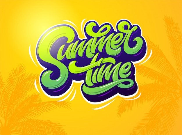 Tipografía de horario de verano sobre fondo naranja con plantas de palma. ilustración. . tipografía moderna para pegatina, pancarta, póster, broshure, folleto, tarjeta. letras. Vector Premium