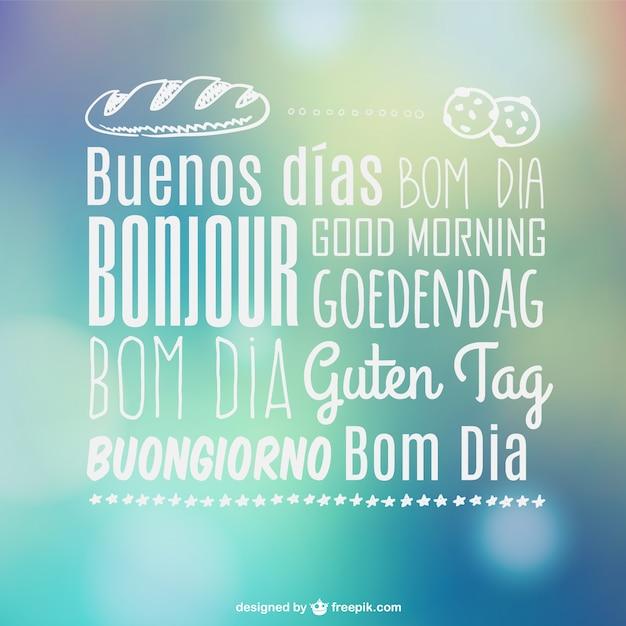 Tipografía multilingüe Buenos días Vector Gratis