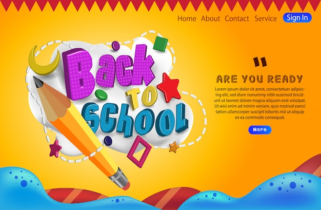 Tipografía de regreso a la escuela con la página de aterrizaje de lápiz Vector Premium