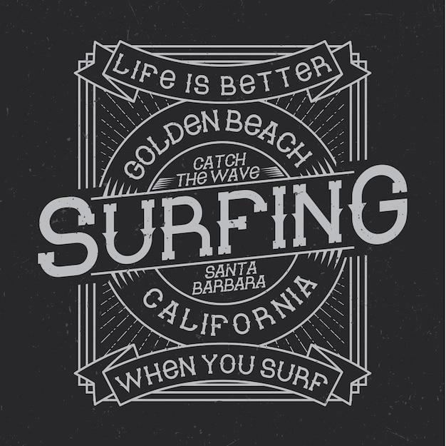 Tipografía de surf, gráficos de camisetas, diseño de emblemas y etiquetas vector gratuito
