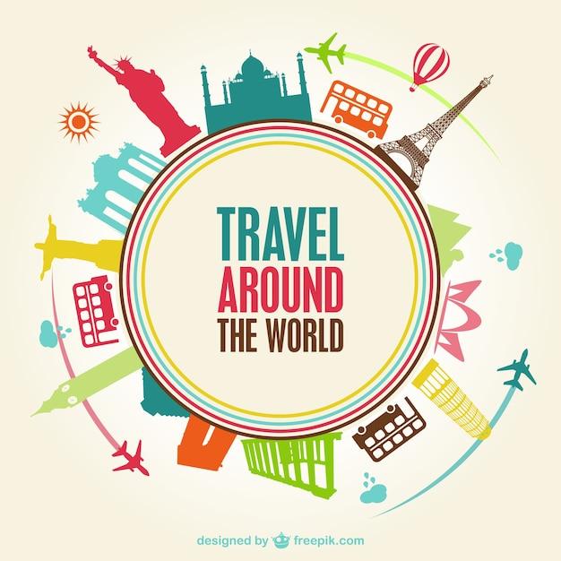 Tipografía de viajes alrededor del mundo vector gratuito