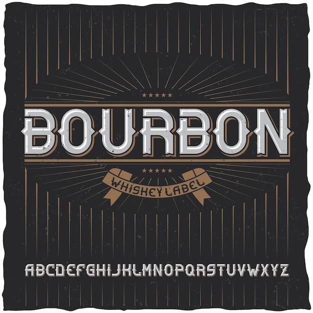 Tipografía vintage llamada bourbon vector gratuito