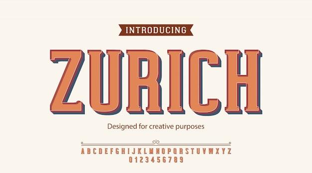 Tipografía de zurich. para fines creativos Vector Premium