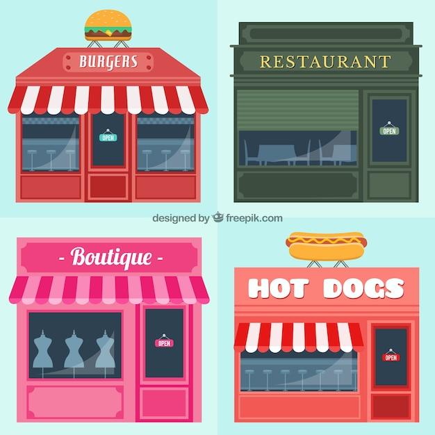 Tipos de fachadas de edificios descargar vectores gratis - Tipos de fachadas ...