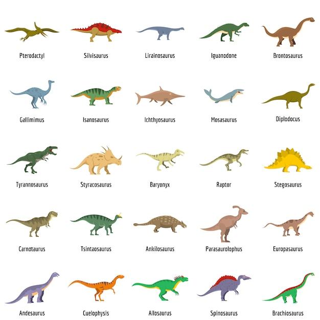 Vector Premium Los Tipos De Dinosaurios Firmaron Los Iconos De Nombre Conjunto De Vectores Aislados Había dinosaurios carnívoros, herbívoros y omnívoros, y muchos evolucionaron para tener dietas especializadas, como. https www freepik es profile preagreement getstarted 4334285