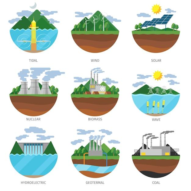 Tipos de energía de generación. conjunto de vectores de iconos de planta de energía. alternativa renovable, solar y mareomotriz, eólica y geotermal, biomasa e ilustración de olas vector gratuito