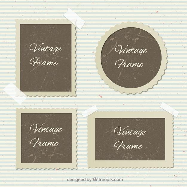 Tipos de marcos de fotos de época Vector Premium