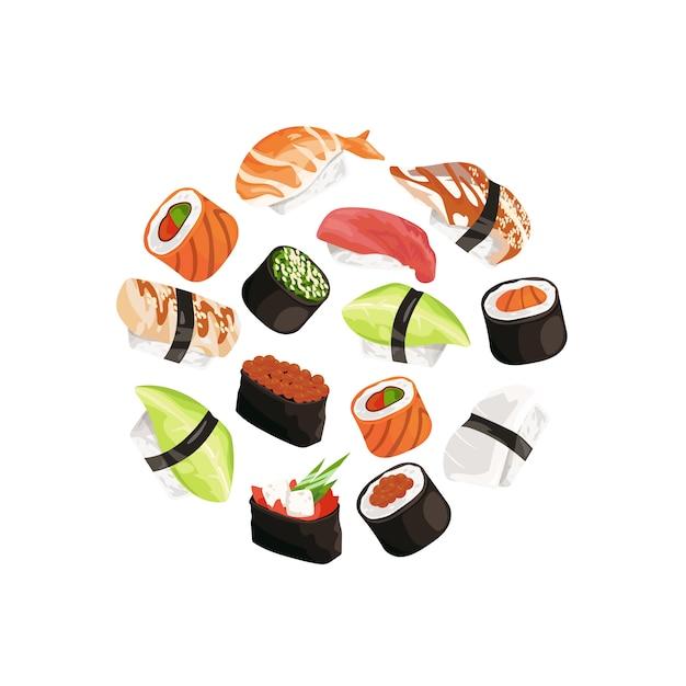 Tipos de sushi en circulo Vector Premium