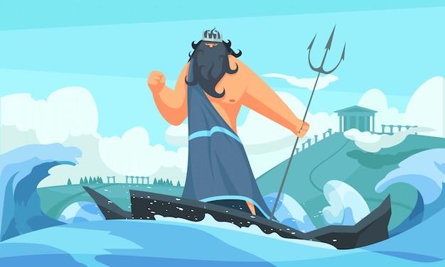 Tira de dibujos animados plana de dioses antiguos de grecia con poseidón entre olas golpeando el mar con su tridente vector gratuito
