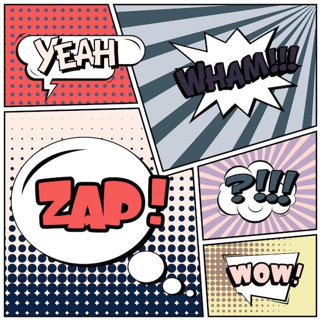 Tiras cómicas o viñetas en estilo pop art con burbujas de discurso Vector Premium