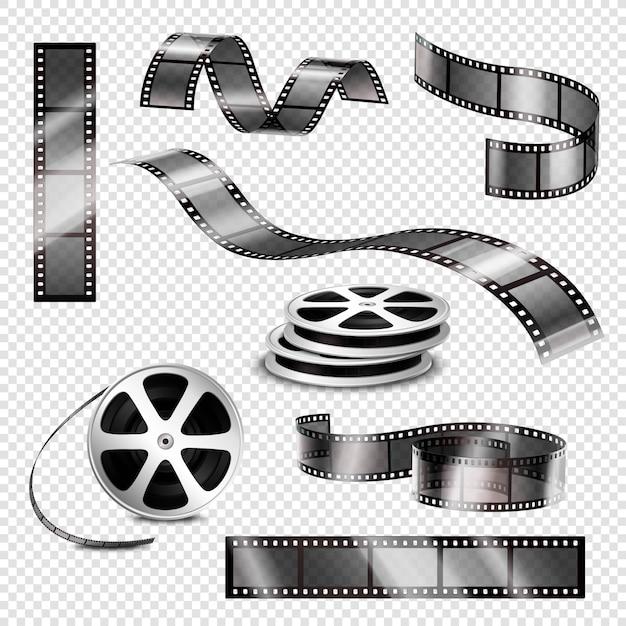 Tiras fotográficas realistas y rollos de película vector gratuito