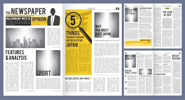 Titular de periódico. plantilla de diseño de prensa de portada de periódico y páginas con diseño de artículos Vector Premium