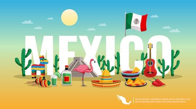 Título de encabezado de composición horizontal colorida de méxico con la bandera nacional símbolos tradicionales culturales letra grande vector gratuito