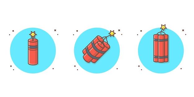 Tnt ilustración del icono del vector. concepto icono bomba blanco aislado Vector Premium