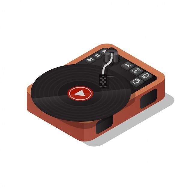 Tocadiscos vintage reproductor de discos de vinilo. escuchar música en línea. ilustración isométrica vector plano Vector Premium