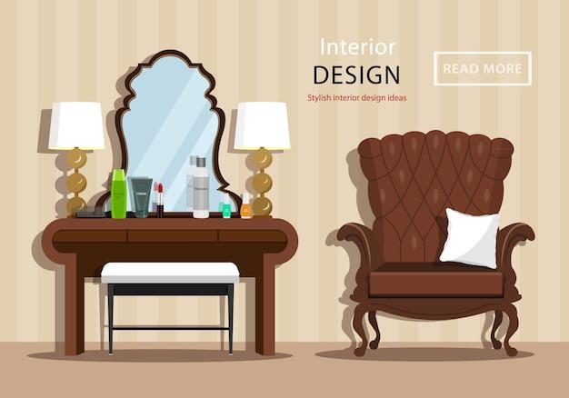Tocador vintage con espejo y cosméticos para mujer, sillón y sillón en el interior de la casa. ilustración de estilo plano Vector Premium