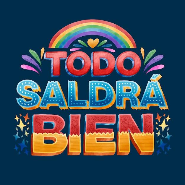 Todo va a estar bien en español vector gratuito