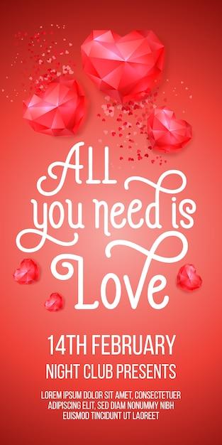 Todo lo que necesitas es letras de amor con corazones rubí. vector gratuito