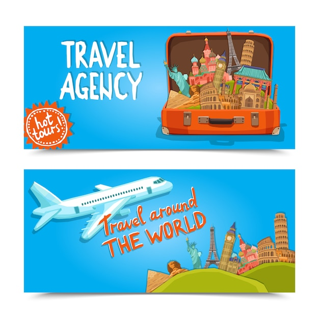 En todo el mundo agencia de viajes banners horizontales. vector gratuito
