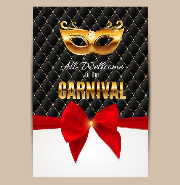Todos bienvenidos al carnaval, evento popular en brasil. diseño con máscara de fiesta. concepto de mascarada. Vector Premium
