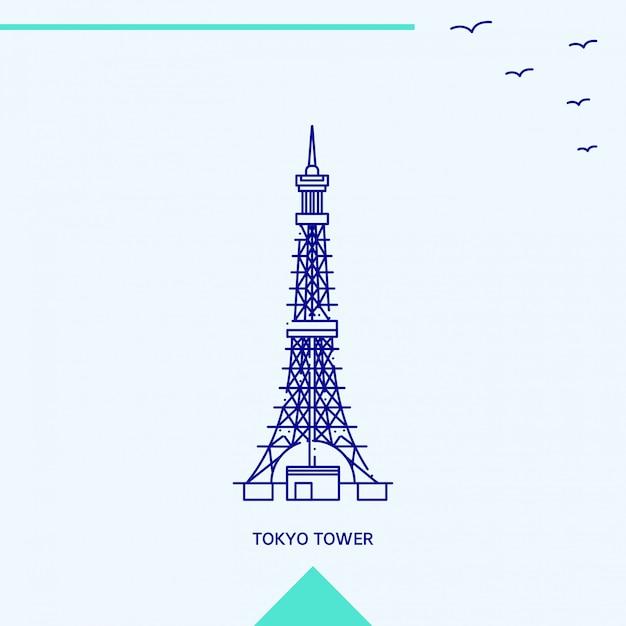 Tokyo tower skyline vector illustration vector gratuito