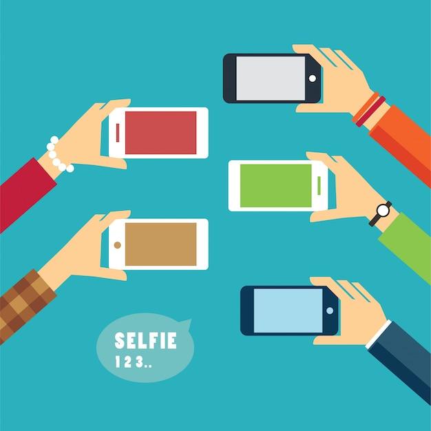 Tomar un diseño plano de foto selfie Vector Premium