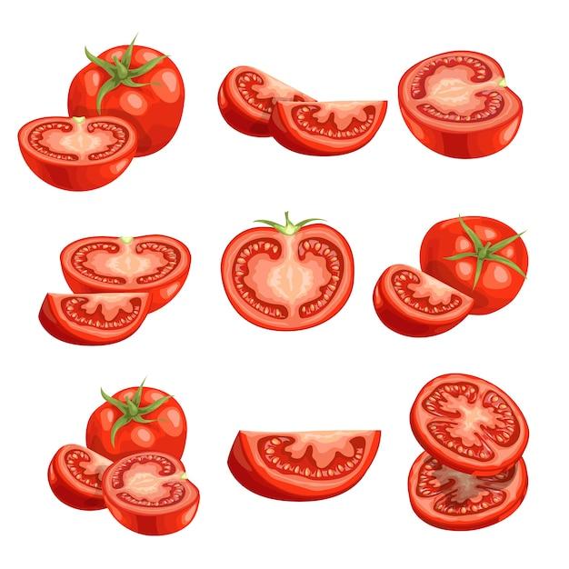 Tomates frescos de dibujos animados. verduras rojas adentro. corta tomates frescos de granja en rodajas, individuales y grupales. ilustraciones sobre fondo blanco. Vector Premium