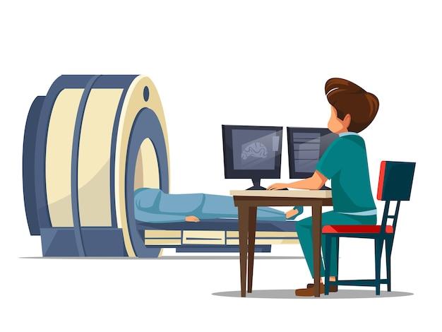 Tomografía computarizada ct o resonancia magnética proceso de escaneo del paciente mri Vector Premium