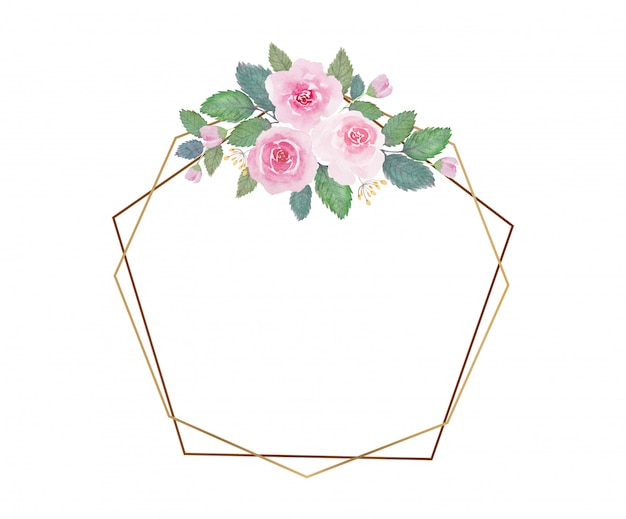 Tono claro hermosa flor de acuarela con marco dorado delgado sobre fondo blanco. Vector Premium