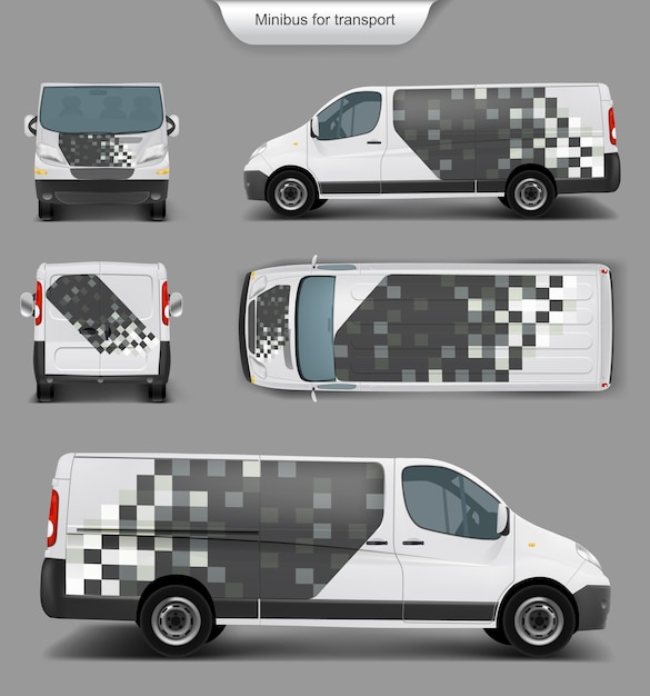 Top blanco minivan. frente, atrás, vista lateral vector gratuito