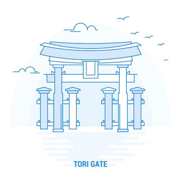 Tori gate blue landmark Vector Premium