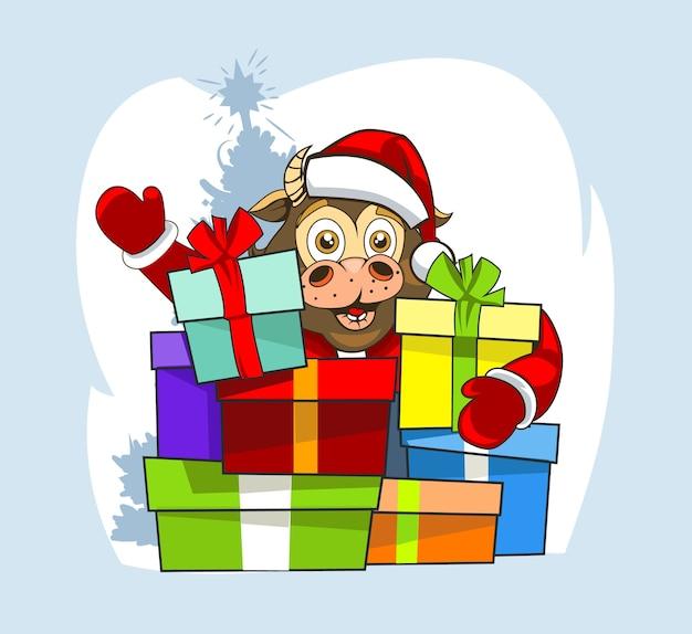 Toro bebé con ropa de santa claus y muchos regalos. Vector Premium