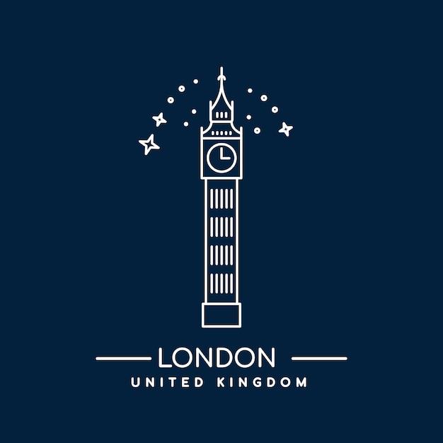 Torre big ben de londres. icono del arte de línea Vector Premium
