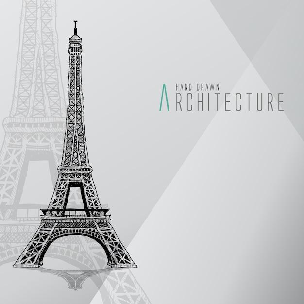 Torre eiffel dibujada a mano vector gratuito