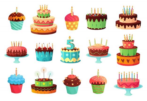 Tortas de fiesta de cumpleaños de dibujos animados. dulce pastel horneado, coloridos cupcakes y tortas de celebración conjunto de ilustración Vector Premium