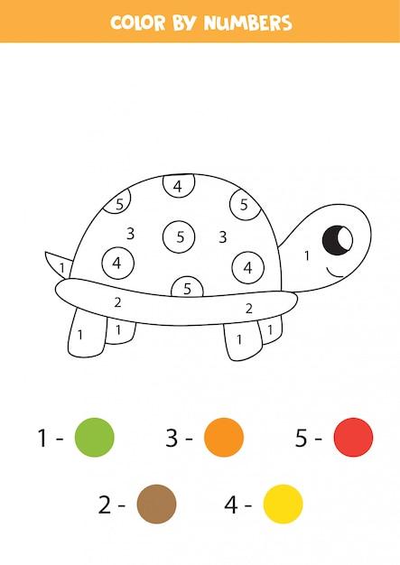 Tortuga de dibujos animados lindo color por números ...