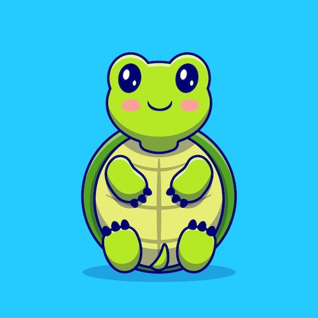 Tortuga linda sentarse dibujos animados. concepto de icono de amor animal aislado. estilo de dibujos animados plana vector gratuito