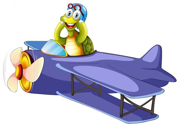 Tortuga montando aeroplano vintage vector gratuito