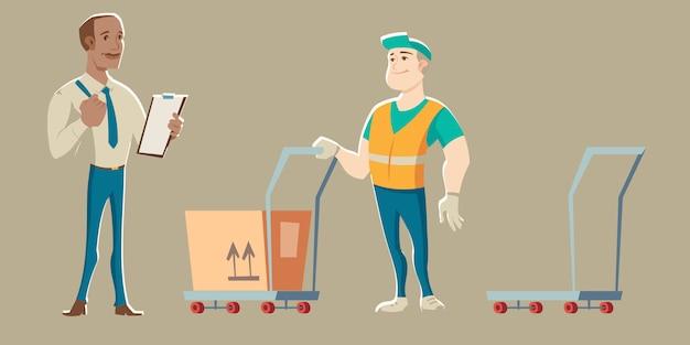 El trabajador del almacén acepta la entrega del mensajero vector gratuito