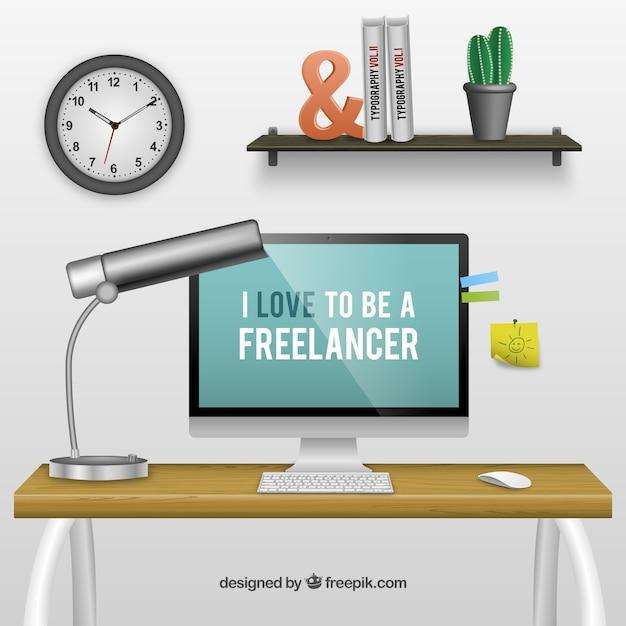 Trabajador autónomo espacio de trabajo vector gratuito