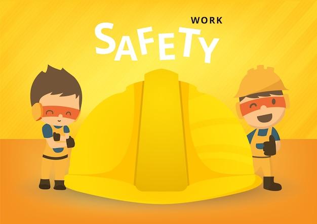 Trabajador de la construcción reparador, seguridad primero, salud y seguridad, ilustrador Vector Premium
